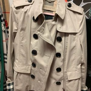 Burberry pea coat short rain coat 14 large mint